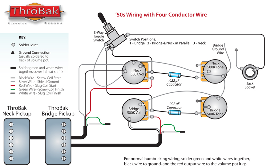 throbak 50 s 4 conductor wiring rh throbak com wiring diagram 2 humbuckers 1 volume 1 tone 3 way switch wiring diagram humbucker 1 volume