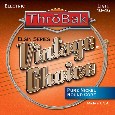 Throbak Vintage Choice round core pure Nickel electric guitar strings photo.