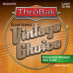 ThroBak Vintage Choice acoustic hex core guitar strings.