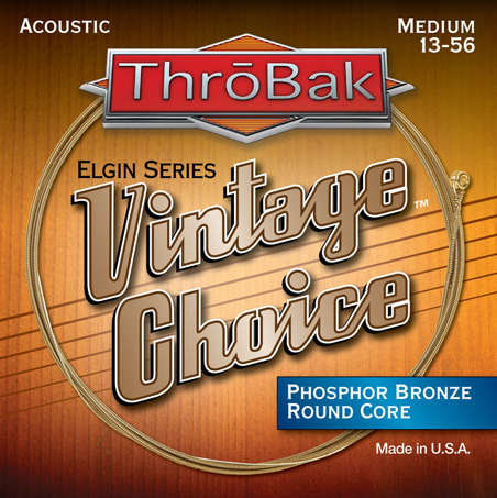 ThroBak Vintage Choice Phosphor Bronze round core acoustic guitar strings photo.