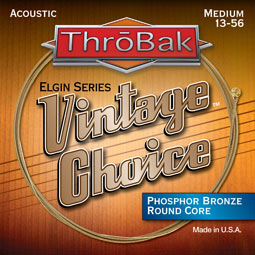 ThroBak Vintage Choice round core acoustic guitar strings.